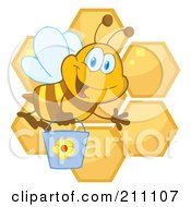 Royalty Free RF Clipart Illustration Of A Cute Bee Waving And Carrying A Bucket Over Honeycombs
