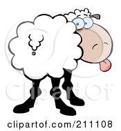 Royalty Free RF Clipart Illustration Of A Goofy Sheep Sticking Its Tongue Out And Looking Back by Hit Toon