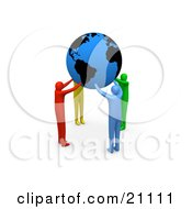 Clipart Illustration Of A Group Of Diverse People Coming Together And Supporting The Planet Earth