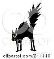Royalty Free RF Clipart Illustration Of A Scared Black And Green Eyed Cat