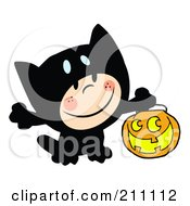 Royalty Free RF Clipart Illustration Of A Happy Kid Trick Or Treating In A Black Kitty Costume