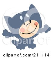 Royalty Free RF Clipart Illustration Of A Cute Little Kid Smiling And Dressed In A Gray Cat Halloween Costume
