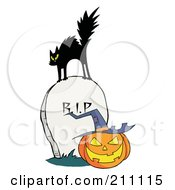 Royalty Free RF Clipart Illustration Of A Scared Black Cat On A Tombstone Over A Jackolantern by Hit Toon