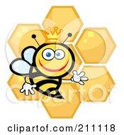 Happy Queen Bee With Honey Combs