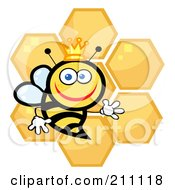 Royalty Free RF Clipart Illustration Of A Happy Queen Bee With Honey Combs