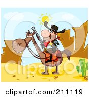 Royalty Free RF Clipart Illustration Of A Sheriff On Horseback In A Desert Landscape by Hit Toon