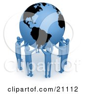 Poster, Art Print Of Team Of Blue People Forming A Circle Around The Earth And Holding It Up High