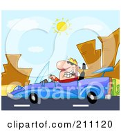 Royalty Free RF Clipart Illustration Of A Man Driving His Convertible Car On A Desert Road