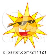 Royalty Free RF Clipart Illustration Of A Hot Summer Sun Wearing Shades by Hit Toon