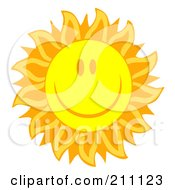 Royalty Free RF Clipart Illustration Of A Happy Sun Face With Petal Like Rays