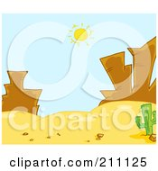 Royalty Free RF Clipart Illustration Of A Sun Shining Down On Rock Formations In A Desert Landscape by Hit Toon