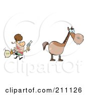 Royalty Free RF Clipart Illustration Of A Bandit Running Towards His Horse