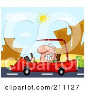 Royalty Free RF Clipart Illustration Of A Man Driving His Red Car On A Desert Road by Hit Toon
