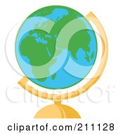 Royalty Free RF Clipart Illustration Of A Round Green And Blue Desk World Globe