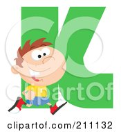 Royalty Free RF Clipart Illustration Of A Letter K With A Kid