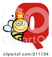 Royalty Free RF Clipart Illustration Of A Letter Q With A Queen Bee