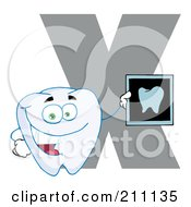 Royalty Free RF Clipart Illustration Of A Letter X With A Dental X Ray