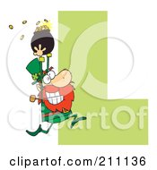 Royalty Free RF Clipart Illustration Of A Letter L With A Leprechaun