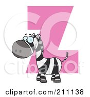 Royalty Free RF Clipart Illustration Of A Letter Z With A Zebra by Hit Toon