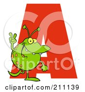 Royalty Free RF Clipart Illustration Of A Letter A With An Alien