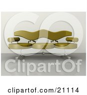 Modern Couch With Circular Seats On A Reflective Floor