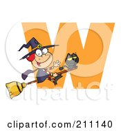 Royalty Free RF Clipart Illustration Of A Letter W With A Witch