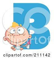 Royalty Free RF Clipart Illustration Of A Letter B With A Baby
