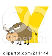 Royalty Free RF Clipart Illustration Of A Letter Y With A Yak