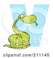 Royalty Free RF Clipart Illustration Of A Letter V With A Viper