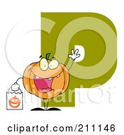 Royalty Free RF Clipart Illustration Of A Letter P With A Pumpkin