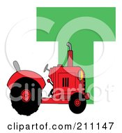 Royalty Free RF Clipart Illustration Of A Letter T With A Tractor