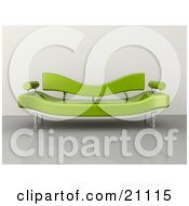 Clipart Illustration Of A Modern Green Plastic Couch On A Reflective Floor