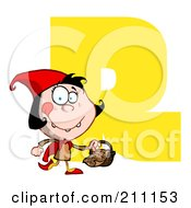 Royalty Free RF Clipart Illustration Of A Letter R With Red Riding Hood by Hit Toon