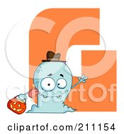 Royalty Free RF Clipart Illustration Of A Letter G With A Ghost by Hit Toon