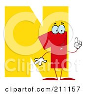 Royalty Free RF Clipart Illustration Of A Letter N With A Number One