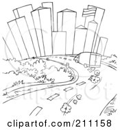Royalty Free RF Clipart Illustration Of A Coloring Page Outline Of A Van Putting Down A City Road by Alex Bannykh