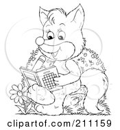 Royalty Free RF Clipart Illustration Of A Coloring Page Outline Of A Cute Fox Using An Activity Book by Alex Bannykh