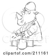 Royalty Free RF Clipart Illustration Of A Coloring Page Outline Of A Rhino Turning A Valve
