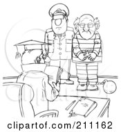 Royalty Free RF Clipart Illustration Of A Coloring Page Outline Of A Cop With A Prisoner In Front Of A Judge by Alex Bannykh