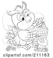 Royalty Free RF Clipart Illustration Of A Coloring Page Outline Of A Cute Owl Using An Activity Book by Alex Bannykh
