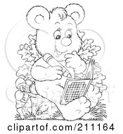 Royalty Free RF Clipart Illustration Of A Coloring Page Outline Of A Cute Bear Using An Activity Book by Alex Bannykh