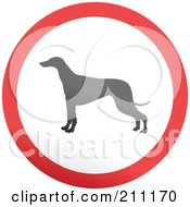 Red Gray And White Rounded Greyhound Button