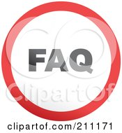 Royalty Free RF Clipart Illustration Of A Red Gray And White Rounded FAQ Button by Prawny