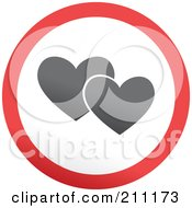 Royalty Free RF Clipart Illustration Of A Red Gray And White Rounded Two Hearts Button