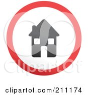 Royalty Free RF Clipart Illustration Of A Red Gray And White Rounded House Button