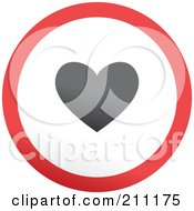 Royalty Free RF Clipart Illustration Of A Red Gray And White Rounded Heart Button