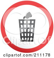 Royalty Free RF Clipart Illustration Of A Red Gray And White Rounded Trash Can Button