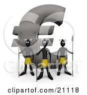 Clipart Illustration Of Three Native Guards With Spears Protecting A Giant Euro Stone Statue