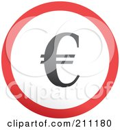 Royalty Free RF Clipart Illustration Of A Red Gray And White Rounded Euro Button by Prawny