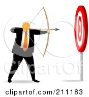 Royalty Free RF Clipart Illustration Of An Orange Faceless Businessman Archer Aiming For An Easy Target by Qiun
